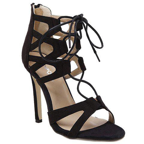 Fashion Stylish Lace-Up and Zip Design Sandals For Women - 35 BLACK Mobile