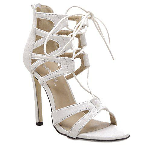 Online Stylish Lace-Up and Zip Design Sandals For Women - 38 WHITE Mobile