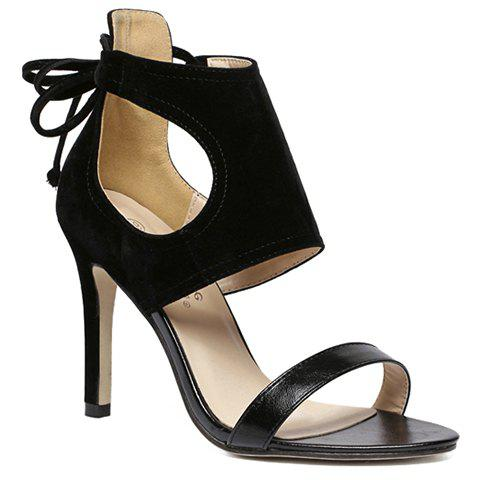 Online Simple Hollow Out and Lace-Up Design Sandals For Women