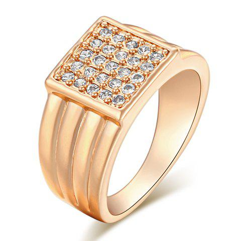 Cheap Vintage Rhinestone Square Shape Ring GOLDEN ONE-SIZE