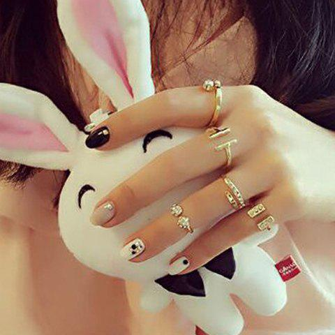 Store A Suit of Chic Rhinestone Geometric Cuff Rings For Women GOLDEN ONE-SIZE