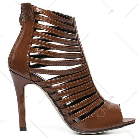 Online Fashionable Hollow Out and PU Leather Design Sandals For Women - 40 COFFEE Mobile