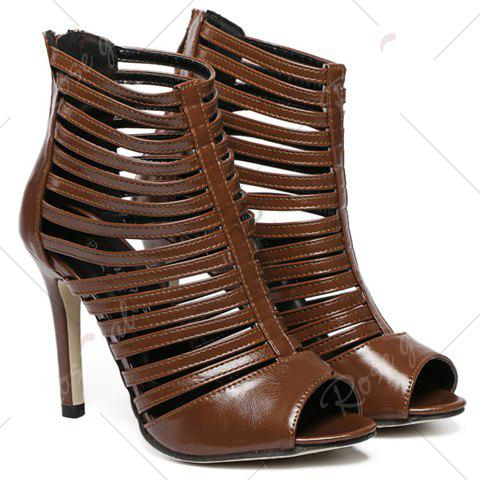 Outfit Fashionable Hollow Out and PU Leather Design Sandals For Women - 40 COFFEE Mobile