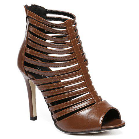 Trendy Fashionable Hollow Out and PU Leather Design Sandals For Women COFFEE 40