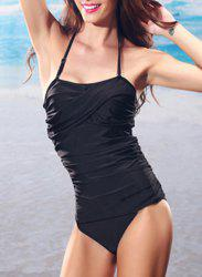 Chic Halter Pure Color Backless One Piece Swimwear For Women -