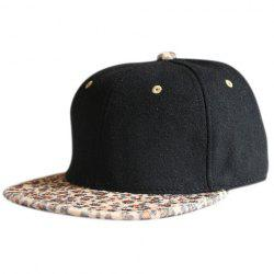 Hip Hop Cheetah Print Flat Bill Hat - BLACK