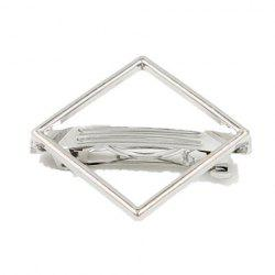 Faddish Hollow Out Rhombus Shape Hairgrip For Women - SILVER