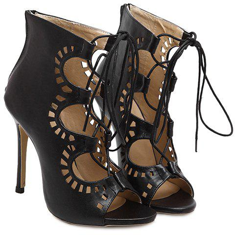 Shop Fashion Lace-Up and Hollow Out Design Peep Toe Shoes For Women