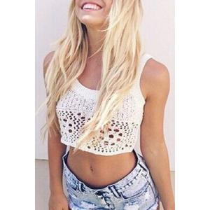 Stylish Scoop Neck Sleeveless Crochet White Women's Crop Top - White - S