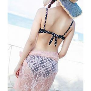 Sweet Laced Polka Dot Print Three-Piece Swimsuit For Women -
