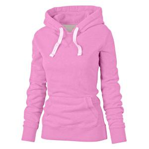 Simple Hooded Long Sleeve Pocket Design Women's Hoodie - Watermelon Red - Xl