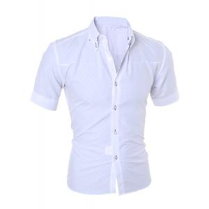 Simple Style Turn-Down Collar Solid Color Short Sleeve Men's Shirt