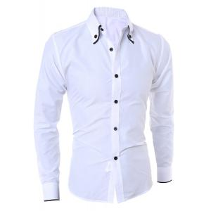 Turn-Down Collar Color Block Purfled Long Sleeve Men's Button-Down Shirt