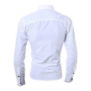 Turn-Down Collar Color Block Purfled Long Sleeve Men's Button-Down Shirt - WHITE M