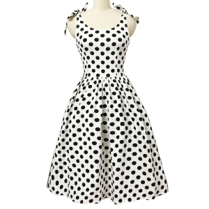 Graceful Bowknot Strappy Sleeveless Ball Gown Polka Dot Dress For Women
