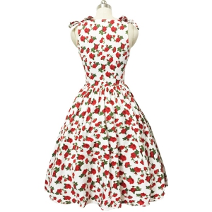 Graceful Bowknot Strappy Sleeveless Floral Print Ball Gown Dress For Women -