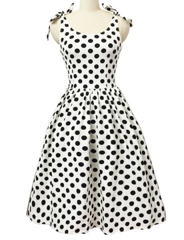 Discount Graceful Bowknot Strappy Sleeveless Ball Gown Polka Dot Dress For Women