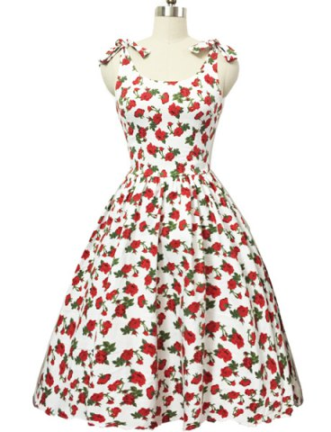 Outfit Graceful Bowknot Strappy Sleeveless Floral Print Ball Gown Dress For Women