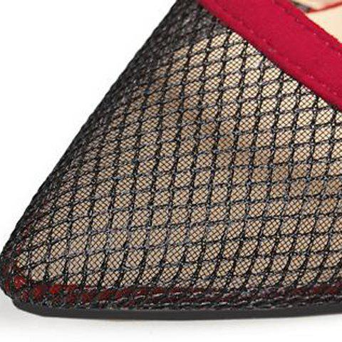Fashion Pretty Hollow Out and Suede Design Pumps For Women - 38 RED Mobile