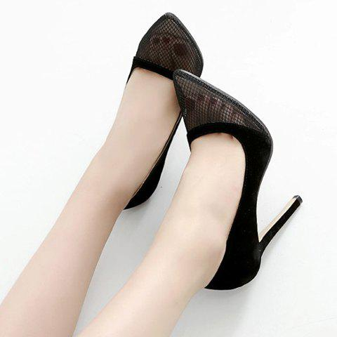 Buy Pretty Hollow Out and Suede Design Pumps For Women - 37 BLACK Mobile