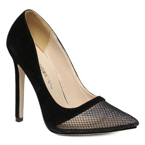 Trendy Pretty Hollow Out and Suede Design Pumps For Women - 40 BLACK Mobile