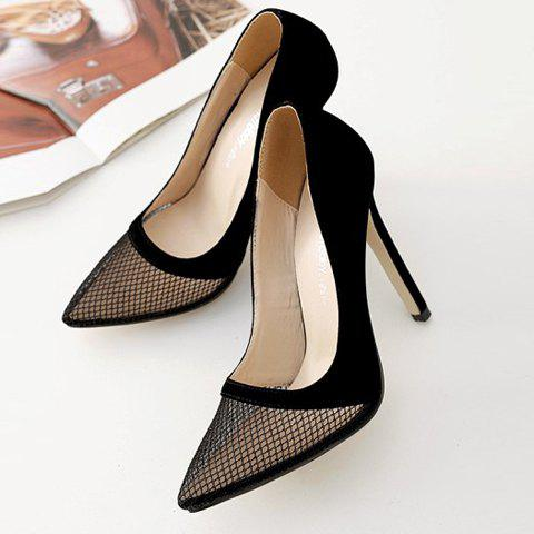 Fashion Pretty Hollow Out and Suede Design Pumps For Women - 40 BLACK Mobile