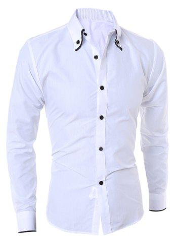 Chic Turn-Down Collar Color Block Purfled Long Sleeve Men's Button-Down Shirt WHITE M