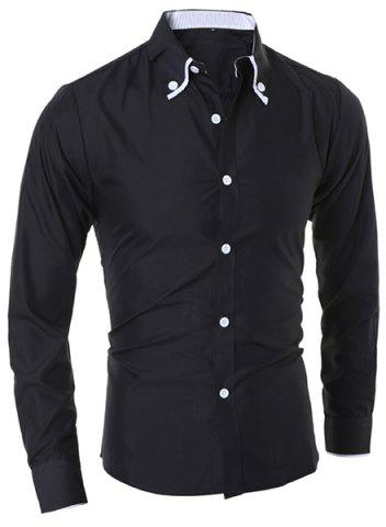 Chic Turn-Down Collar Color Block Purfled Long Sleeve Men's Button-Down Shirt