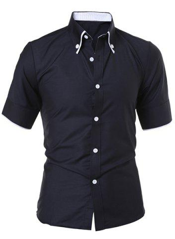 Unique Short Sleeve Button Down Casual Shirt BLACK XL