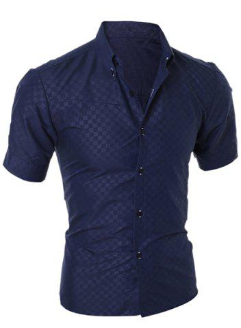 Sale Simple Style Turn-Down Collar Solid Color Short Sleeve Men's Shirt CADETBLUE XL