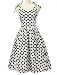 Graceful Bowknot Strappy Sleeveless Ball Gown Polka Dot Dress For Women -