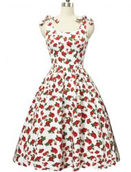 Graceful Bowknot Strappy Sleeveless Floral Print Ball Gown Dress For Women