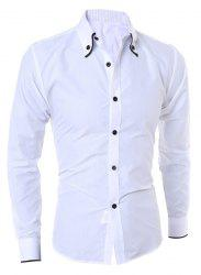 Turn-Down Collar Color Block Purfled Long Sleeve Men's Button-Down Shirt -