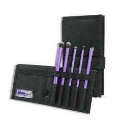 Stylish 5 Pcs Fiber Eye Makeup Brushes Set with Black Brush Bag - PURPLE