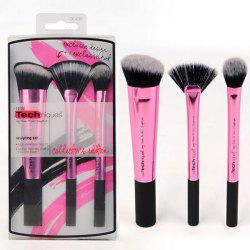 Stylish 3 Pcs Aluminum Tube Fiber Facial Makeup Brushes Set -