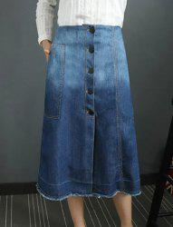 Stylish Bleach Wash Buttoned Denim Skirt For Women