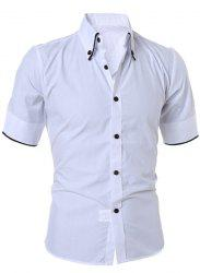 Short Sleeve Button Down Casual Shirt - WHITE