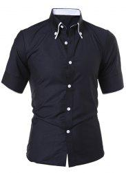 Short Sleeve Button Down Casual Shirt - BLACK XL