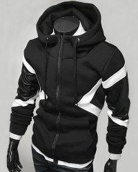 Hit Color PU Leather Spliced Triangle Pattern Front Pocket Drawstring Hooded Long Sleeves Men's Hoodie - BLACK