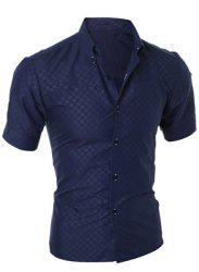 Simple Style Turn-Down Collar Solid Color Short Sleeve Men's Shirt - CADETBLUE L