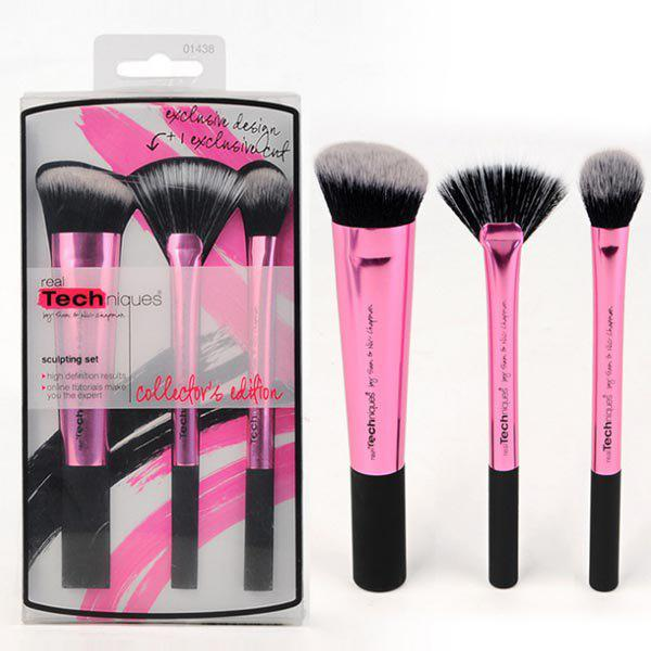 Chic Stylish 3 Pcs Aluminum Tube Fiber Facial Makeup Brushes Set
