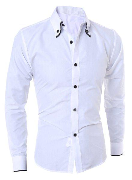 Latest Turn-Down Collar Color Block Purfled Long Sleeve Men's Button-Down Shirt