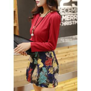 Stylish Scoop Neck Long Sleeve Printed Flare Dress For Women -