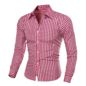 Casual Turn-Down Collar Pliad Print Slimming Long Sleeve Men's Shirt