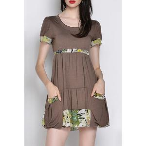 Stylish Scoop Neck Short Sleeve Patch Design Dress For Women