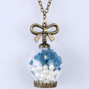 Graceful Faux Pearl Glass Dry Flower Bowknot Sweater Chain For Women - BLUE