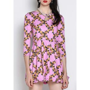 Sweet Jewel Neck 3/4 Sleeve Floral Printed Dress For Women