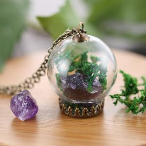Glass Dry Plant Pendant Necklace -