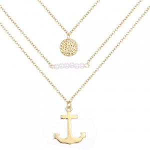 Multilayered Faux Pearl Anchor Necklace -