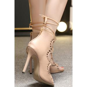 Point Heel Lace Up Cut Out Sandals -